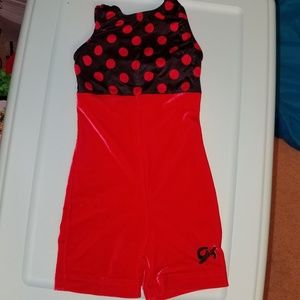 EUC Child xs GK gymnastics biketard red and black